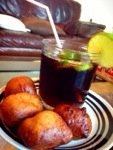Puff Puff aka Puffy served with Cocacola Garnished with Lime