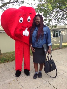 With Middlesex University Mascot. (induction day)